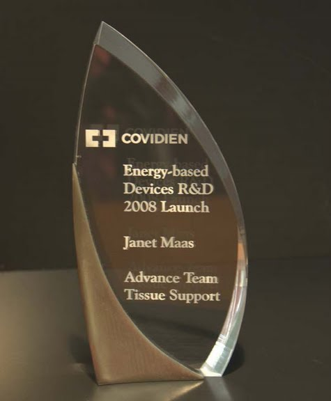 Freestanding Acrylic & Glass Awards - Crescent Steel and Clear