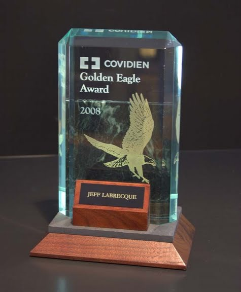 Freestanding Acrylic & Glass Awards - Golden Eagle Lexus