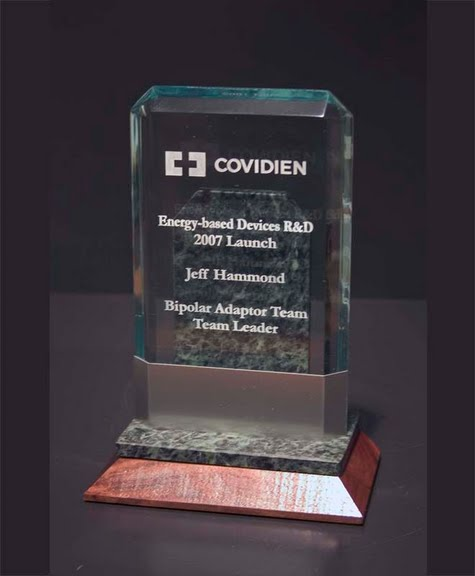 Freestanding Acrylic & Glass Awards - Lexus with Beveled Wood Base