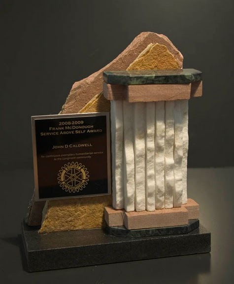 Freestanding Metal & Stone Awards - Column with Peaks