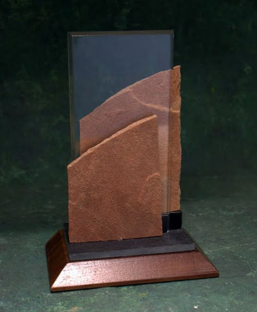 Freestanding Metal & Stone Awards - Double Slant