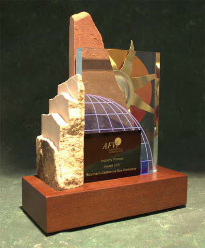 Freestanding Metal & Stone Awards - Sunset and World Influence