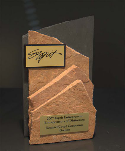 Freestanding Metal & Stone Awards - View of Mountain I