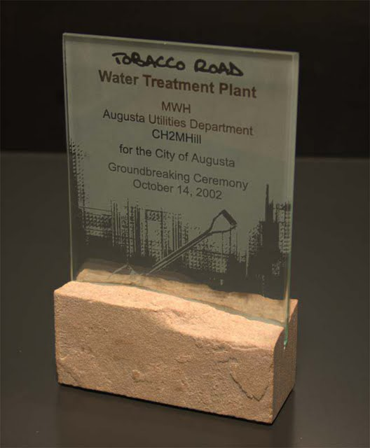 Small Desktop Acrylic & Stone Awards - Dedication Rock Piece