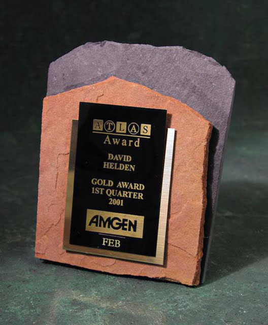 Small Desktop Metal & Stone Awards - Double Stacked Stone