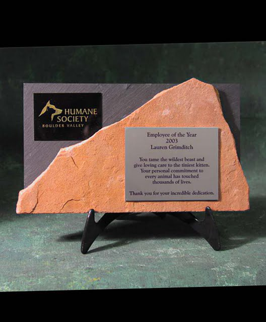 Small Desktop Metal & Stone Awards - Horizontal Double Stone