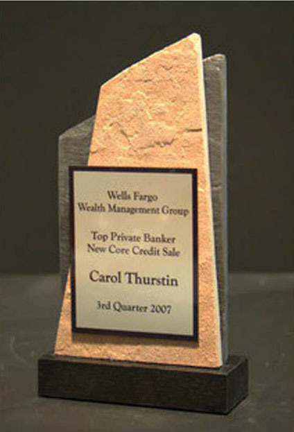 Small Desktop Metal & Stone Awards - Tall Slant Peak