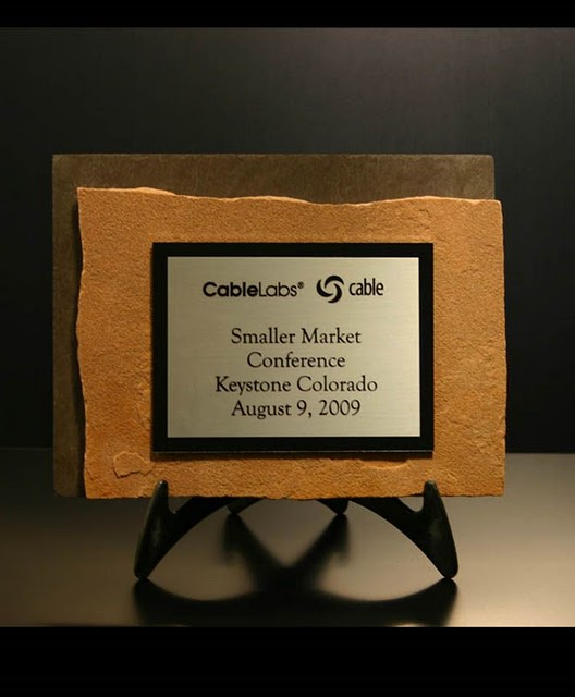 Small Desktop Metal & Stone Awards - Thin Offset Flagstone Mini-plaque